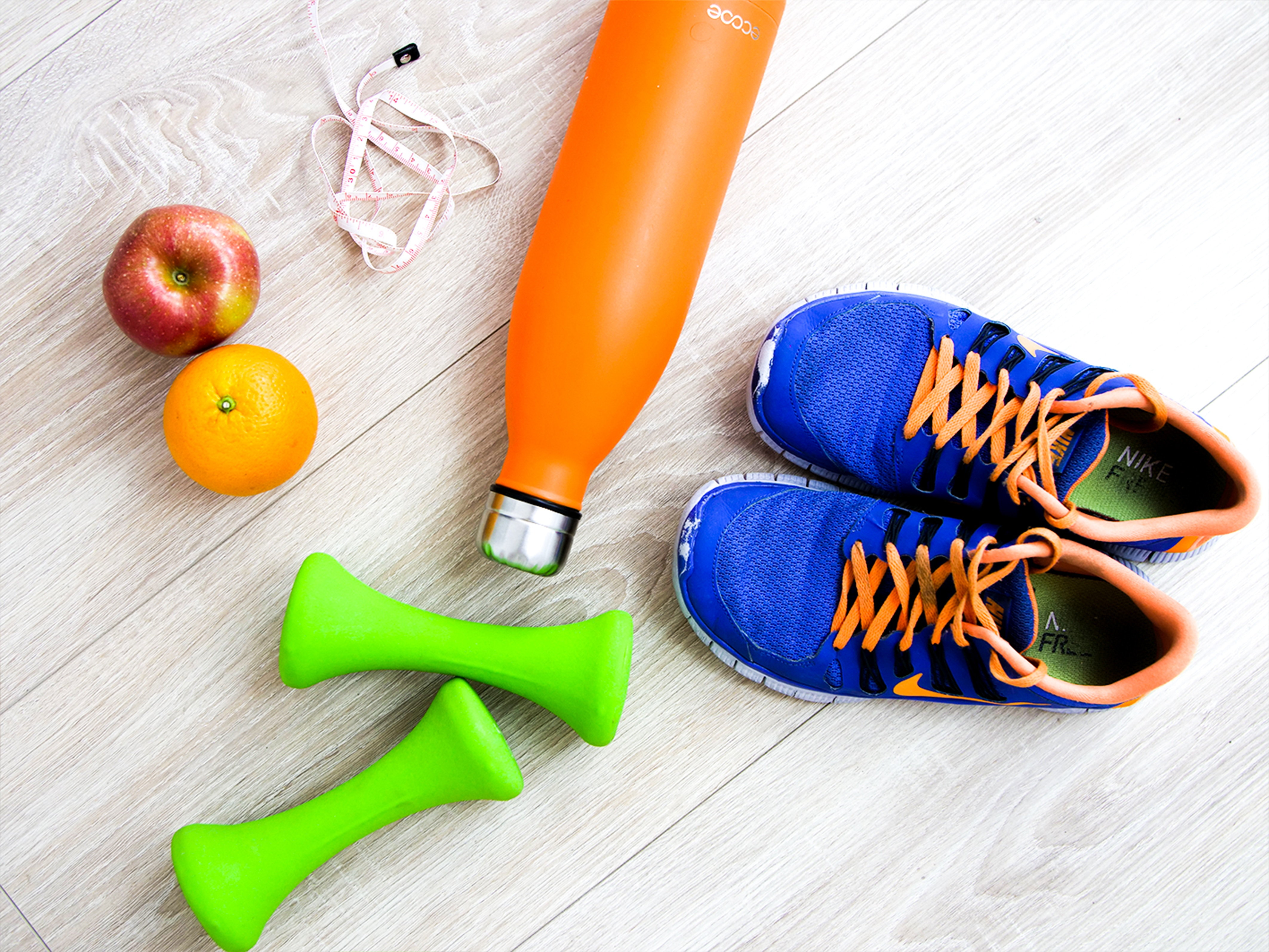 Running shoes and hand weights