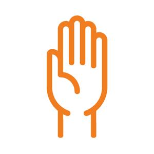 Orange icon of a hand raised