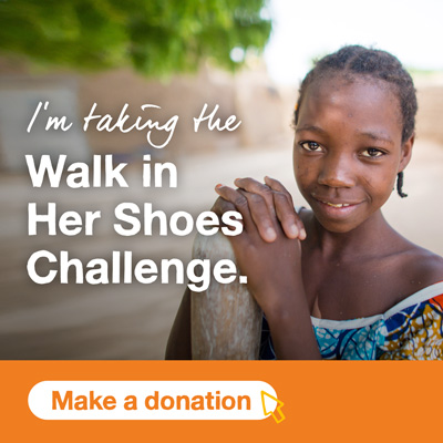 Smiling girl with text I'm taking the Walk in Her Shoes challenge, with a button below saying Make a donation