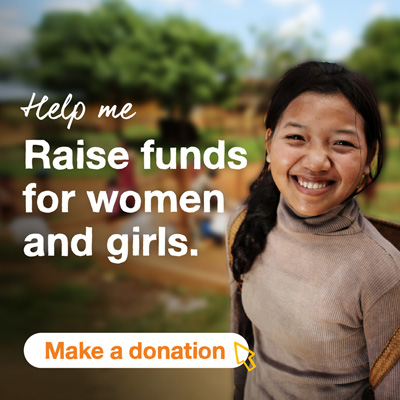 Smiling girl with trees in the background. Text says Help me Raise funds for women and girls. A button below says Make a donation