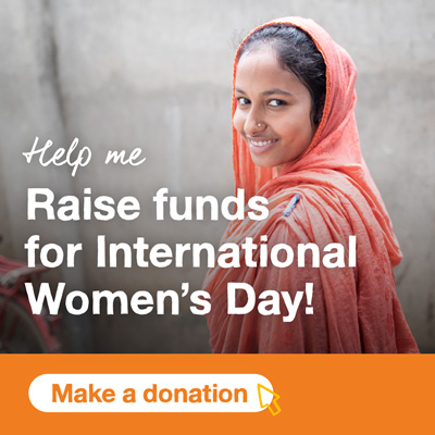 Smiling girl with grey background. Text says Help me Raise funds for International Women's Day! A button below says Make a donation