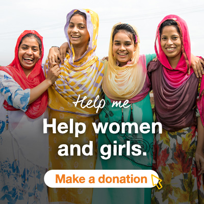 Four smiling girls. Text says Help me Help women and girls. A button below says Make a donation