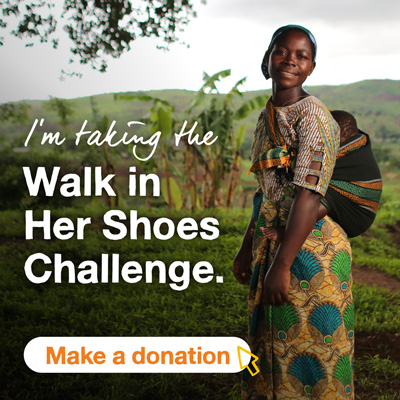 Smiling girl with fields in the background. The text says I'm taking the Walk In Her Shoes challenge. A button says Make a donation