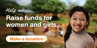 A smiling school girl with a tree in the background. The text says Help me Raise funds for women and girls. A button says Make a donation.