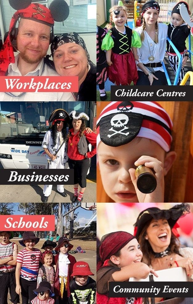Montage of participant images with text Workplaces, Childcare Centres, Businesses, Schools, Community Events