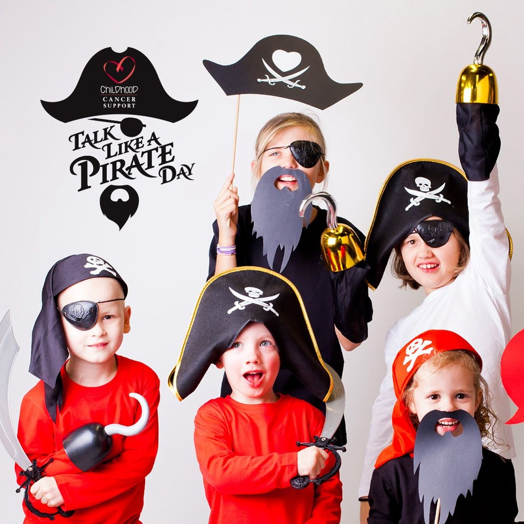 Instagram image with five children in pirate costumes