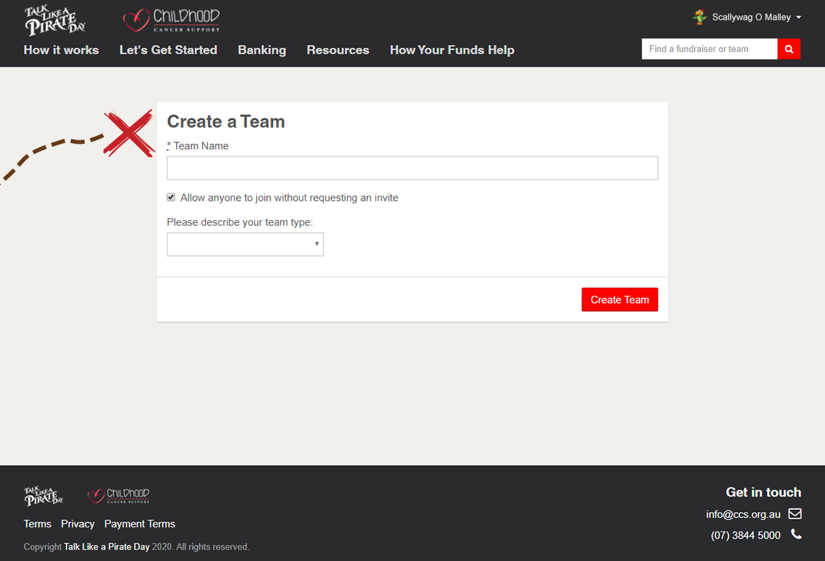 Create a team screen