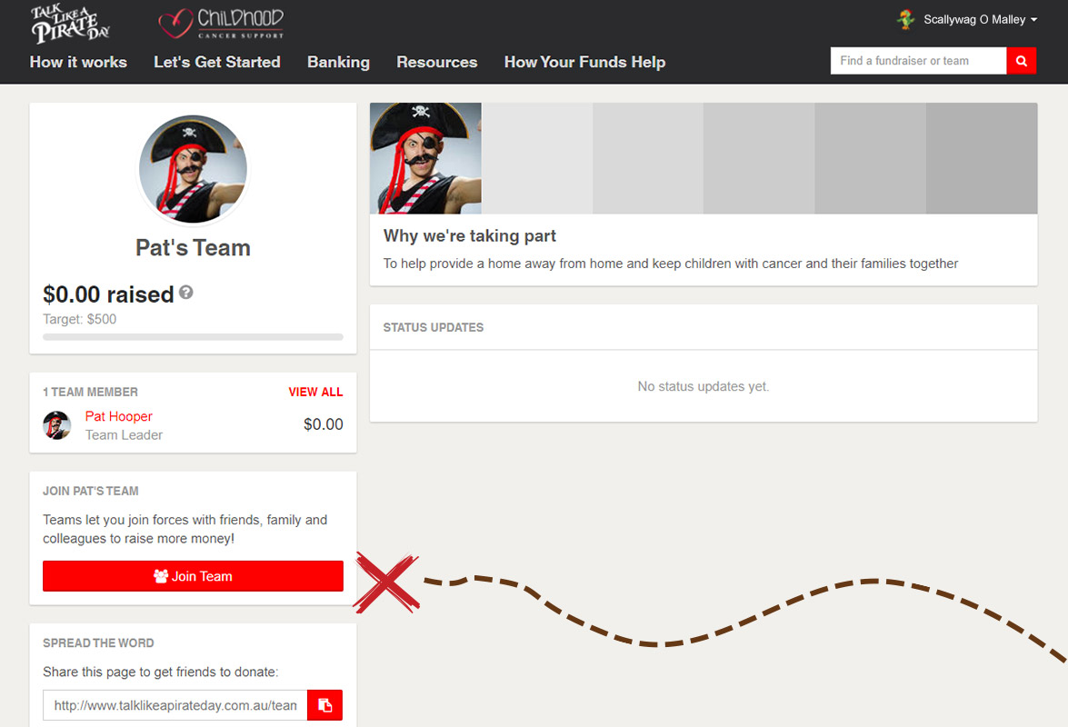 Team page featuring Join team button