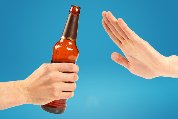 Dry July 2020 beer bottle hand saying no - Go Dry for July