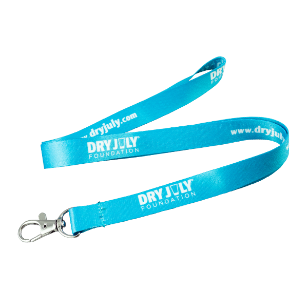 Blue lanyard with Dry July logo and URL