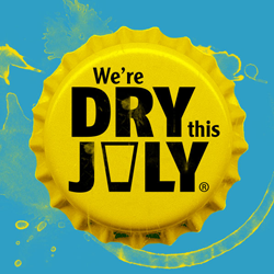 We're Dry this July message on bottlecap