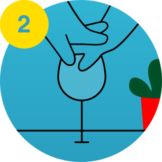 2. Hands on wine glass