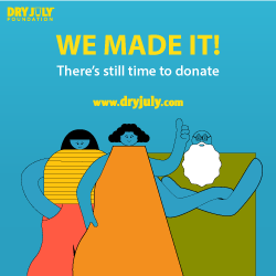 We made it! There's still time to donate. www.dryjuly.com