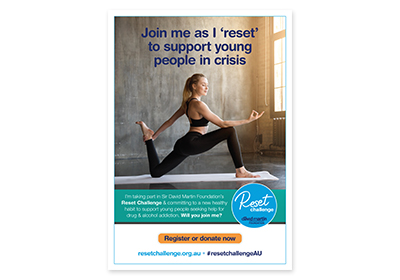 Poster for Reset Challenge with picture of yoga