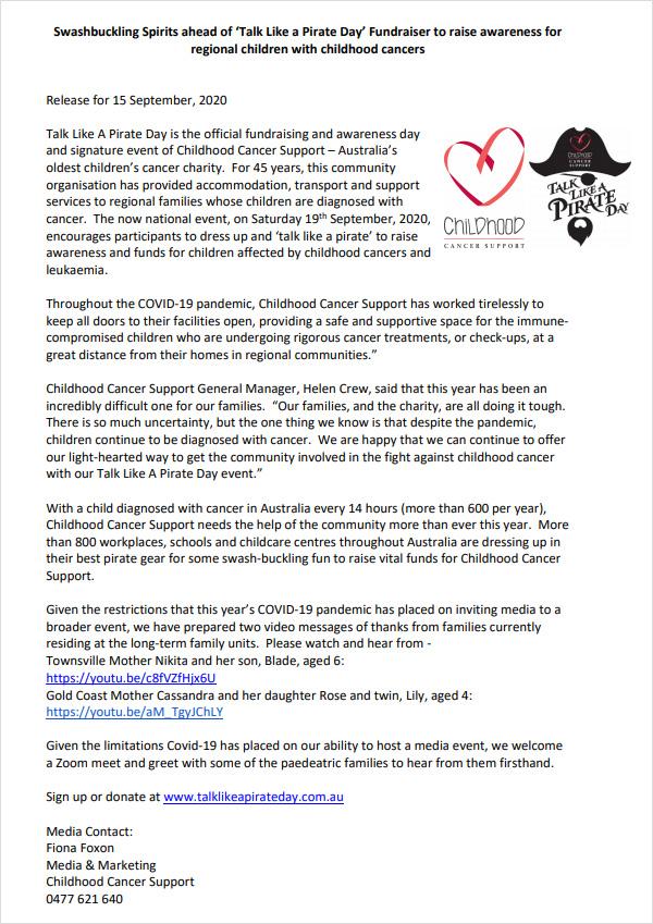 Talk Like a Pirate Day - Press Release