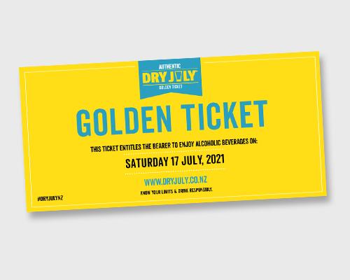 Golden Ticket on grey background