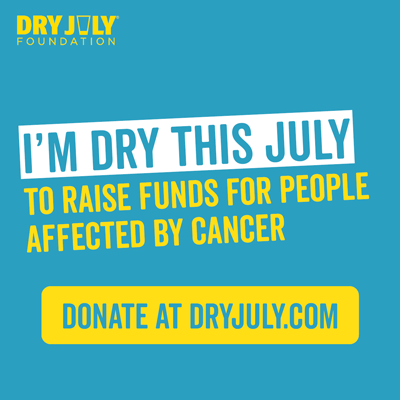 Image for social media: I'm Dry this July to raise funds for people affected by cancer