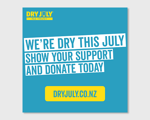 Square social graphic with Support our Dry July